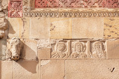 Relief with Jesus and patterns on historical wall of the Svetitskhoveli Cathedral, built in 4th century, Georgia. Royalty Free Stock Photo