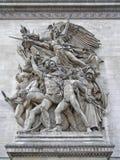 Relief of La Marseillaise. Arc de triomphe in paris royalty free stock images