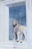 Relief of lion on the facade Venice, Italy royalty free stock images