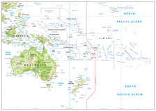 Free Relief Map Of Oceania On White Stock Photos - 74332013