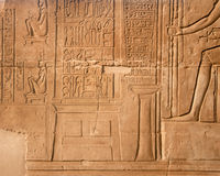 Relief of medical instruments, Kom Ombo, Egypt. Relief probably showing medical instruments and  women on  birthing chairs. Kom Ombo Temple (170-116 BC) of Stock Image