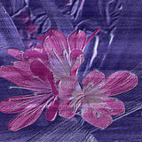 Relief pink flowers on a wooden embossed background Royalty Free Stock Images