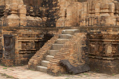 Relief and ruin of Hindu Temples at My Son in Vietnam Stock Photo