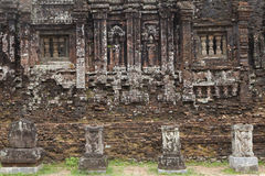 Relief and ruin of Hindu Temples at My Son in Vietnam Stock Photos