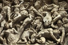 Relief sculpture of battle scene. Royalty Free Stock Photos