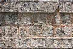 Relief sculpture of Tzompantli the platform of the skulls Stock Images