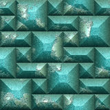 Relief seamless 3d mosaic pattern of green and silver scratched cubes Stock Photos