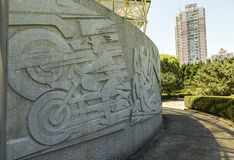 Relief showing economical development in Shanghai, China Royalty Free Stock Photography