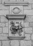 Relief with a skull and crossbones Kotor. One of the oldest town pharmacies in Europe Stock Photography