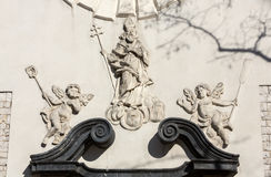 Relief on  St. Adalbert church at the Main Square in Cracow. Poland Royalty Free Stock Images