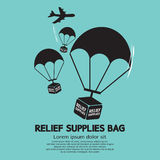 Relief Supplies Bag With Parachutes Royalty Free Stock Image