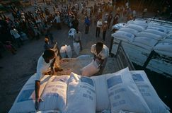 Relief supplies for displaced people in Angola. Relief supplies for displaced people at a camp in war-ravaged Angola Stock Image