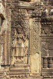 Relief of Ta Prohm temple, Angkor Thom, Siem Reap, Cambodia. Royalty Free Stock Photo