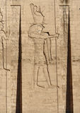 Relief at the Temple of Edfu in Egypt Stock Photography