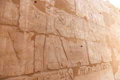 Relief at the Temple of Karnak Egypt. Archaeology antiques and Egyptian statues at Karnak Temple located at Luxor city, Egypt. 20 September 2017, Luxor Egypt Royalty Free Stock Images