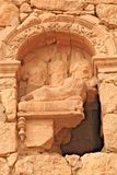 Relief on a tomb in the ancient Palmyra. On syrian desert shortly before the war stock photo