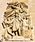 RELIEF ON TRIUMPHAL ARCH. This is one of the sculptures on the outer side of Triumphal Arch.It shows Napoleon victory after returning to celebrate the victory stock images