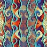 Relief waves of ornamental mosaic tile patterns Royalty Free Stock Photo
