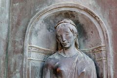 Relief of Woman Head in Siena Royalty Free Stock Photos