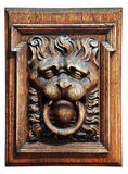 Relief wooden lion Royalty Free Stock Photos