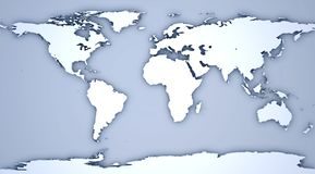 Relief of a world map. 3D Illustration - Relief of a world map on blue background Royalty Free Stock Image