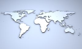 Relief of a world map. 3D Illustration - Relief of a world map on blue background Royalty Free Stock Photo