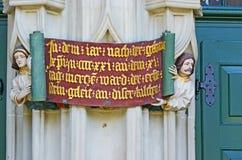 Reliefowa inskrypcja na Munster w Berne zdjęcie royalty free