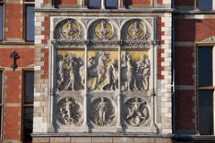 Reliefs on Amsterdam Central Train Station Royalty Free Stock Photography
