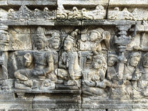 Reliefs at the Borobudur temple in Jogja, Indonesia Royalty Free Stock Photos
