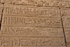 Reliefs of Egyptian hieroglyphs. royalty free stock photography