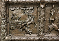 Reliefs on the gate of St. Sophia Cathedral Royalty Free Stock Images