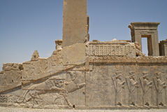 Reliefs in Persepolis Royalty Free Stock Photo