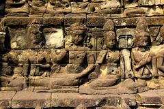 Old temple reliefs background royalty free stock images