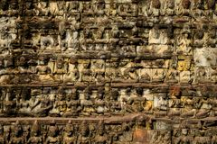 Old temple reliefs background royalty free stock photos