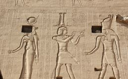 Reliefs on the walls of the Temple of Edfu. Egypt. Stock Photography