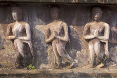 Reliefs from the walls of temples in Sukhothai stock photo