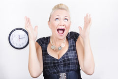 Excited business woman meeting time schedule Stock Photography