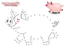 Reliez Dots Draw Cute Cartoon Pig et le colorez GA éducatif Images libres de droits