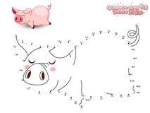 Reliez Dots Draw Cute Cartoon Pig et le colorez GA éducatif Images stock