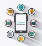Reliez l'icône sociale de réseau de communications Photo stock