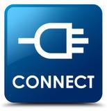 Reliez le bouton carré bleu Images libres de droits