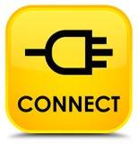 Reliez le bouton carré jaune spécial Image stock