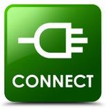 Reliez le bouton carré vert Images libres de droits