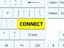 Reliez le bouton jaune de clavier Photos libres de droits