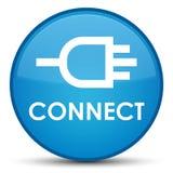 Reliez le bouton rond bleu cyan spécial Photos libres de droits