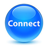 Reliez le bouton rond bleu cyan vitreux Photographie stock libre de droits