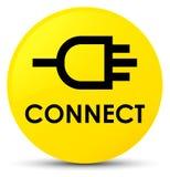 Reliez le bouton rond jaune Photos stock
