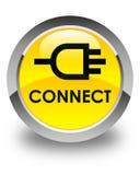 Reliez le bouton rond jaune brillant Photo stock
