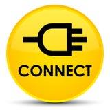 Reliez le bouton rond jaune spécial Images stock
