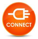Reliez le bouton rond orange élégant Image libre de droits